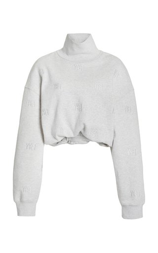 Embroidered Cotton-Knit Turtleneck Sweater