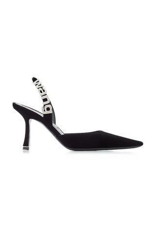 Grace Logo-Detailed Velvet Pumps
