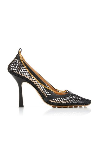 Specialorder-Stretch Embellished Mesh And Leather Pumps-ER