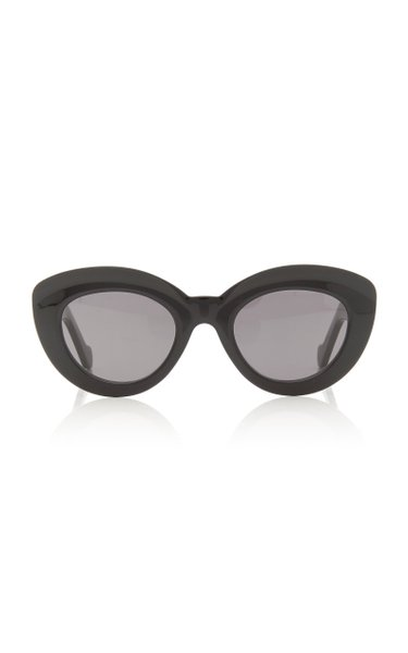 Butterfly Anagram-Detailed Acetate Round-Frame Sunglasses