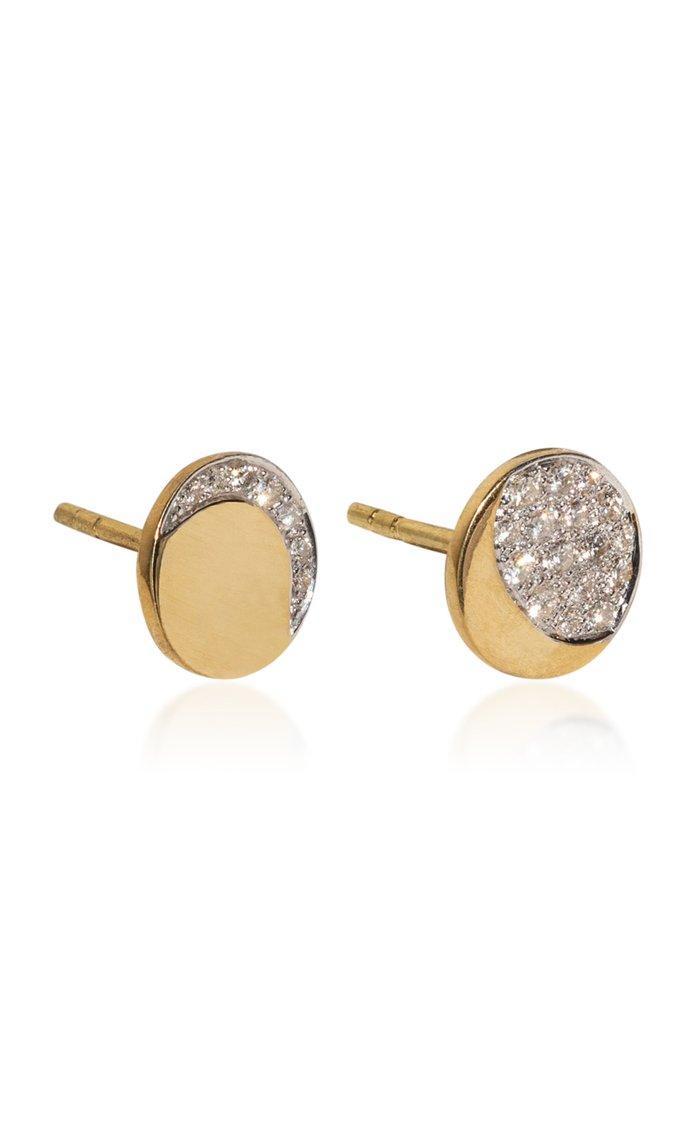 Mismatched Moon Phase 18k Yellow-Gold Diamond Studs