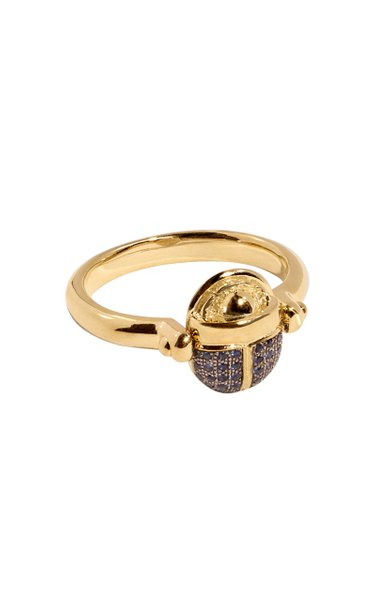 Rotating 18kt Yellow-Gold and Blue Sapphire Scarab Ring
