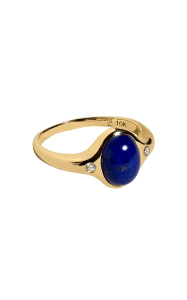 Mini Essential 10kt Yellow-Gold, Lapis and Diamond Ring