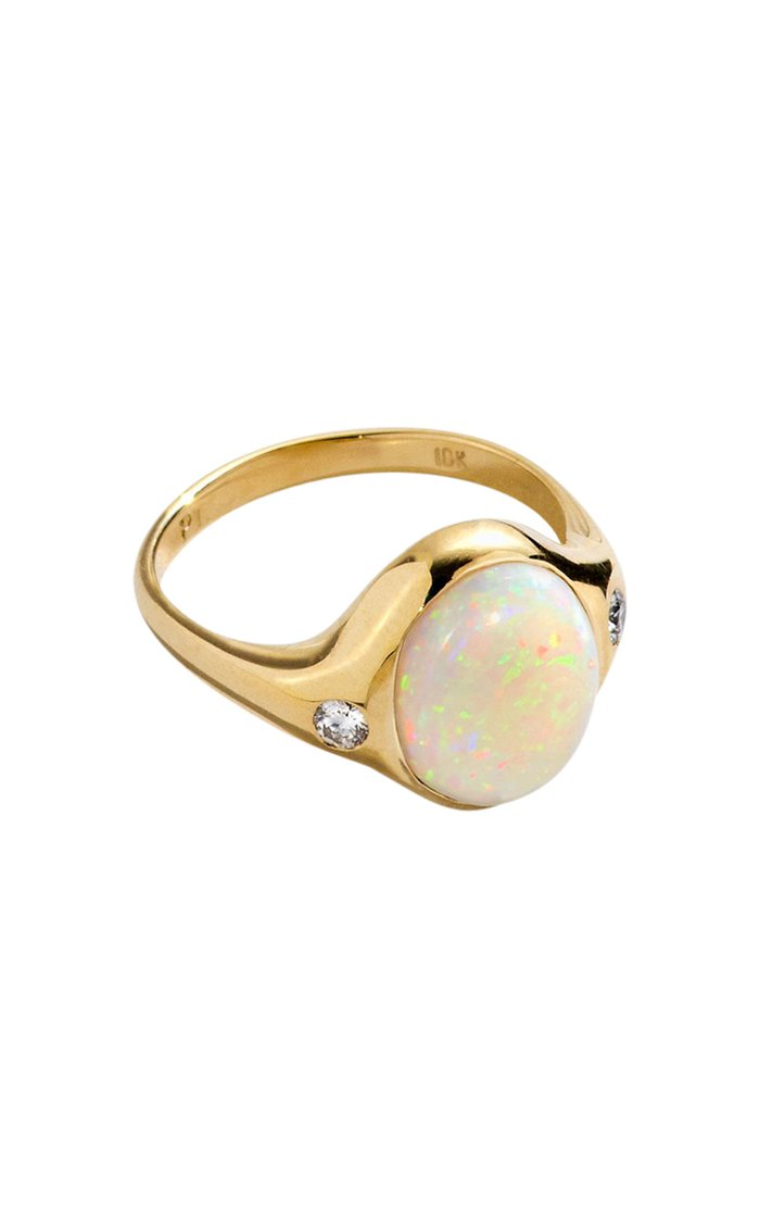 Essential 10kt Yellow-Gold, Opal and Diamond Ring
