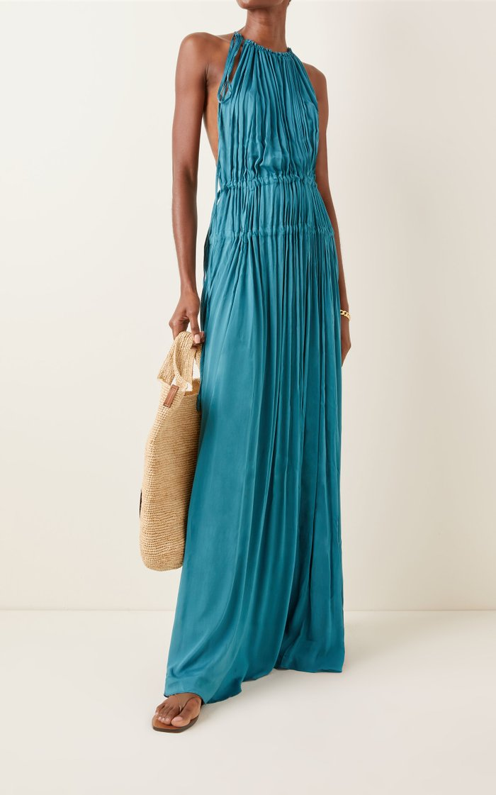 Resplendent Drawstring-Detailed Crepe Maxi Dress