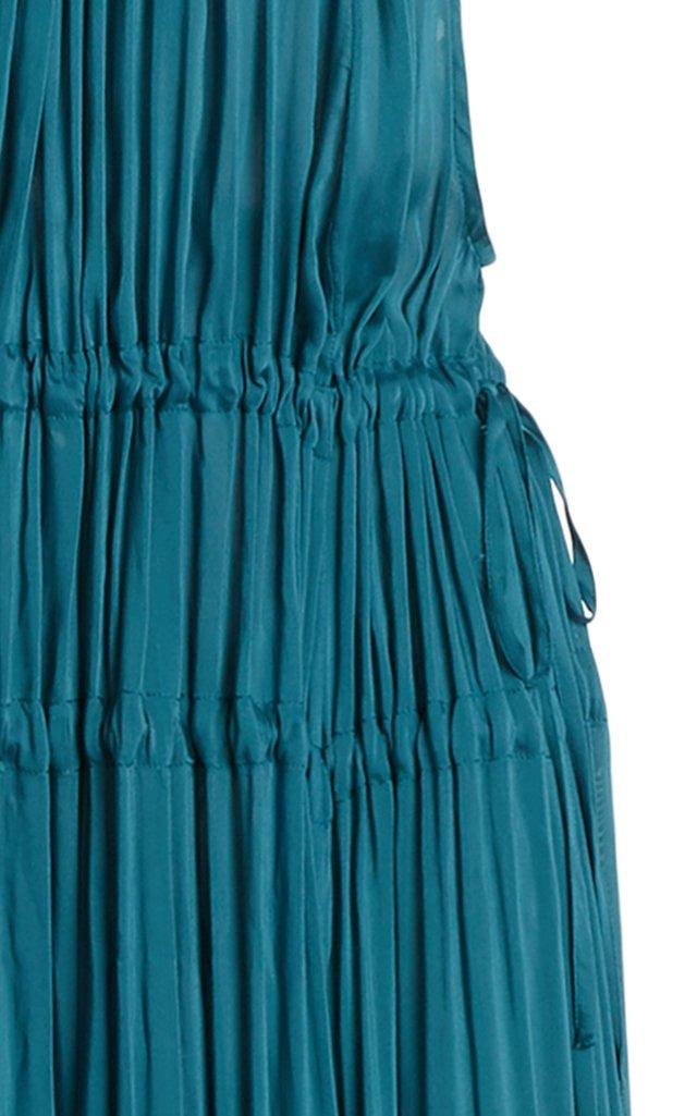 Resplendent Drawstring-Detailed Crepe Maxi Dress