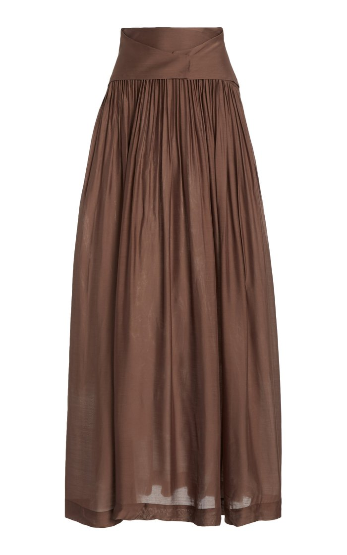 Ripple Pleated Crepe Maxi Skirt