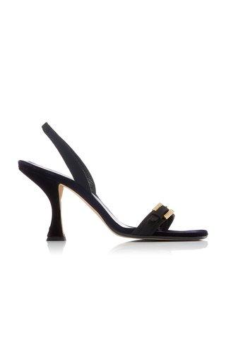 Carlotta Grosgrain-Trimmed Velvet Sandals