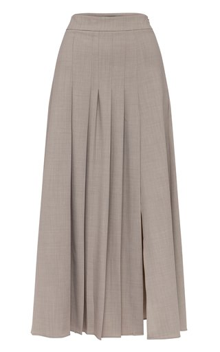 Sable Pleated Wool-Blend Maxi Skirt