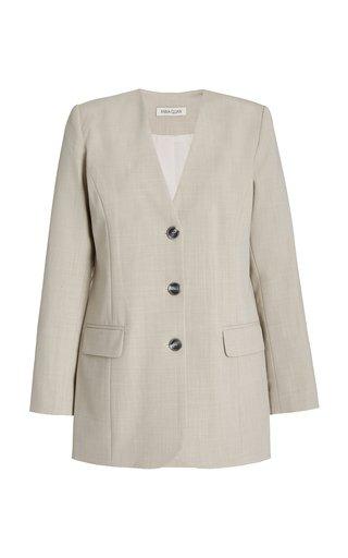 Peyton Collarless Wool-Blend Blazer