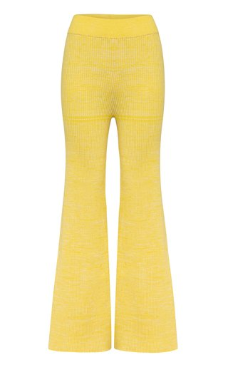 Gerrie Ribbed-Knit Cotton Flared-Leg Pants