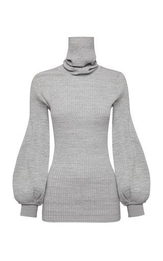 Yara Bishop-Sleeve Ribbed-Knit Cotton Top
