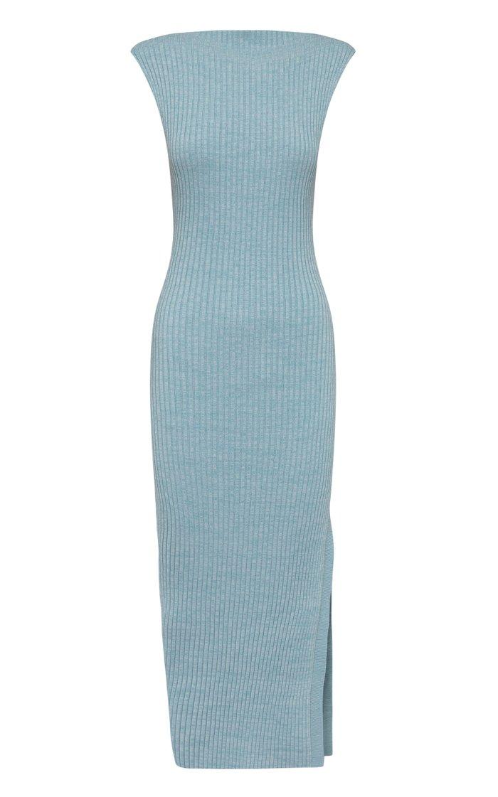 Aleka Boat-Neck Ribbed-Knit Cotton Midi Dress