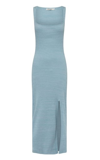 Jana Square-Neck Ribbed-Knit Cotton Maxi Dress
