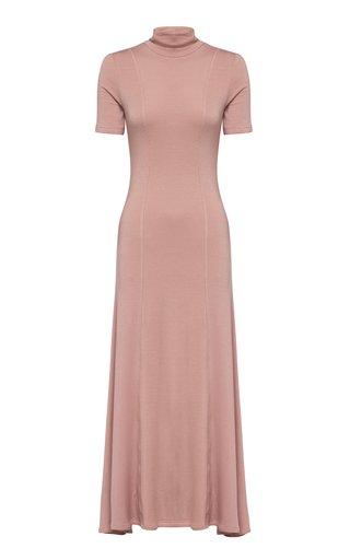 Korina Jersey Turtleneck Maxi Dress