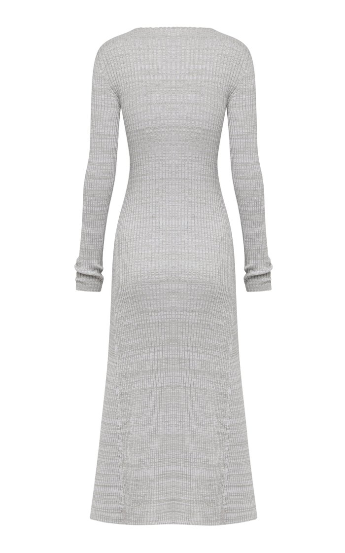 Halle Cutout Ribbed-Knit Cotton Midi Dress