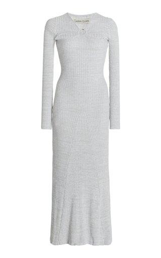 Halle Cutout Ribbed-Knit Cotton Midi Dress