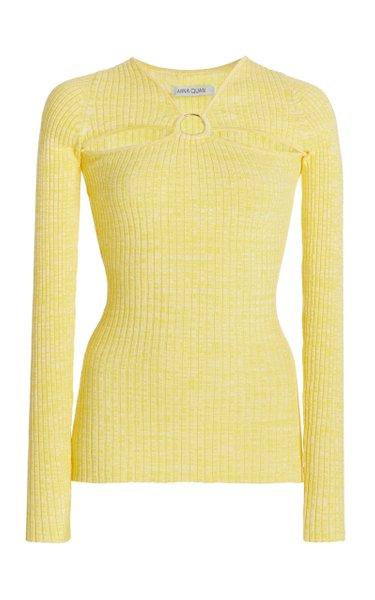 Laila Cutout Ribbed-Knit Cotton Top
