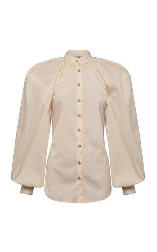 Amina Puff-Sleeve Cotton-Blend Poplin Top