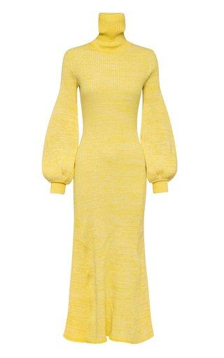 Amalia Puff-Sleeve Ribbed-Knit Cotton Maxi Dress