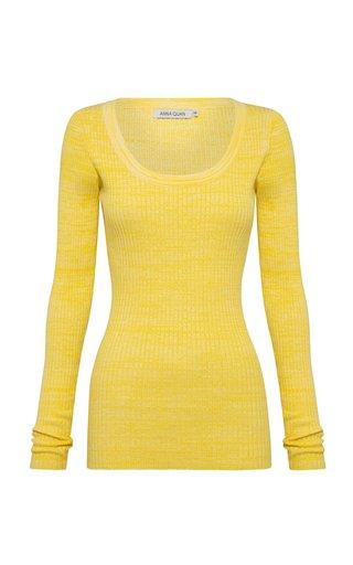Saffi Scoop-Neck Ribbed-Knit Cotton Top
