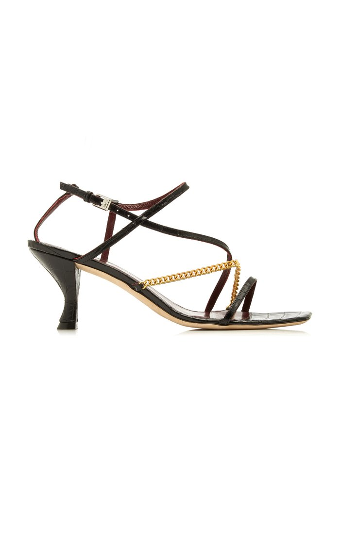 Gita Chain-Trimmed Croc-Effect Leather Sandals