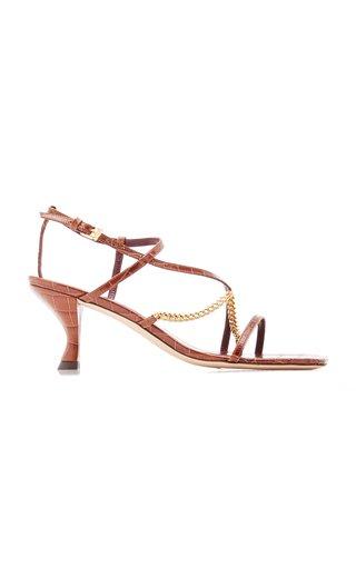 Gita Chain-Trimmed Croc-Effect Leather Sandals