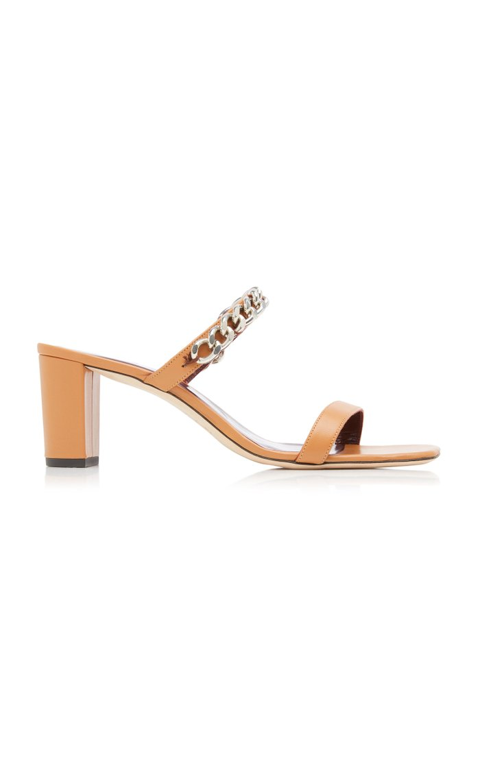Frankie Chain-Trimmed Leather Sandals