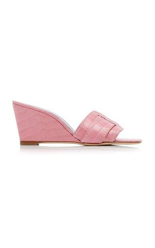 Sylvie Croc-Effect Leather Wedge Sandals