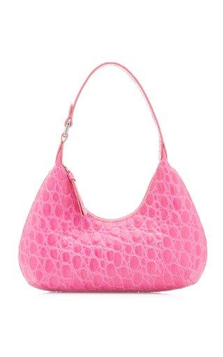 Baby Amber Croc-Embossed Leather Shoulder Bag
