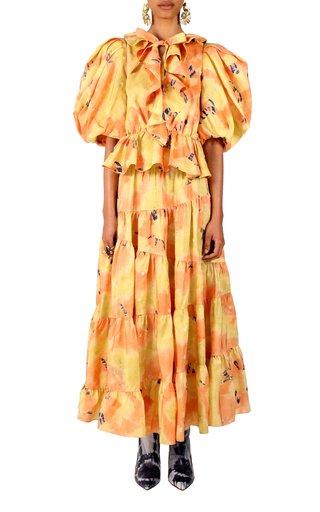 Umbra Ruffled Silk Midi Skirt