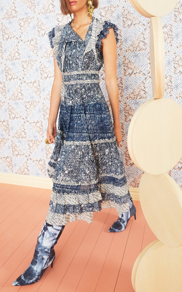 Kiri Ruffled Patchwork Cotton-Blend Midi Dress