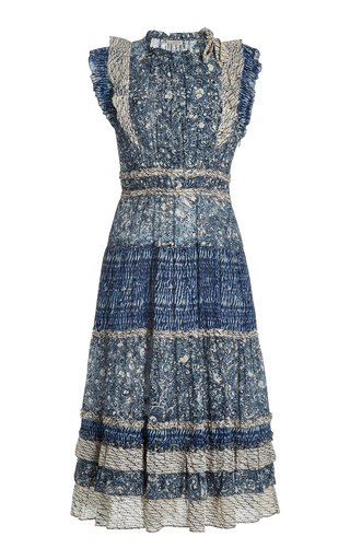 Kiri Ruffled Patchwork Cotton-Blend Midi Dress