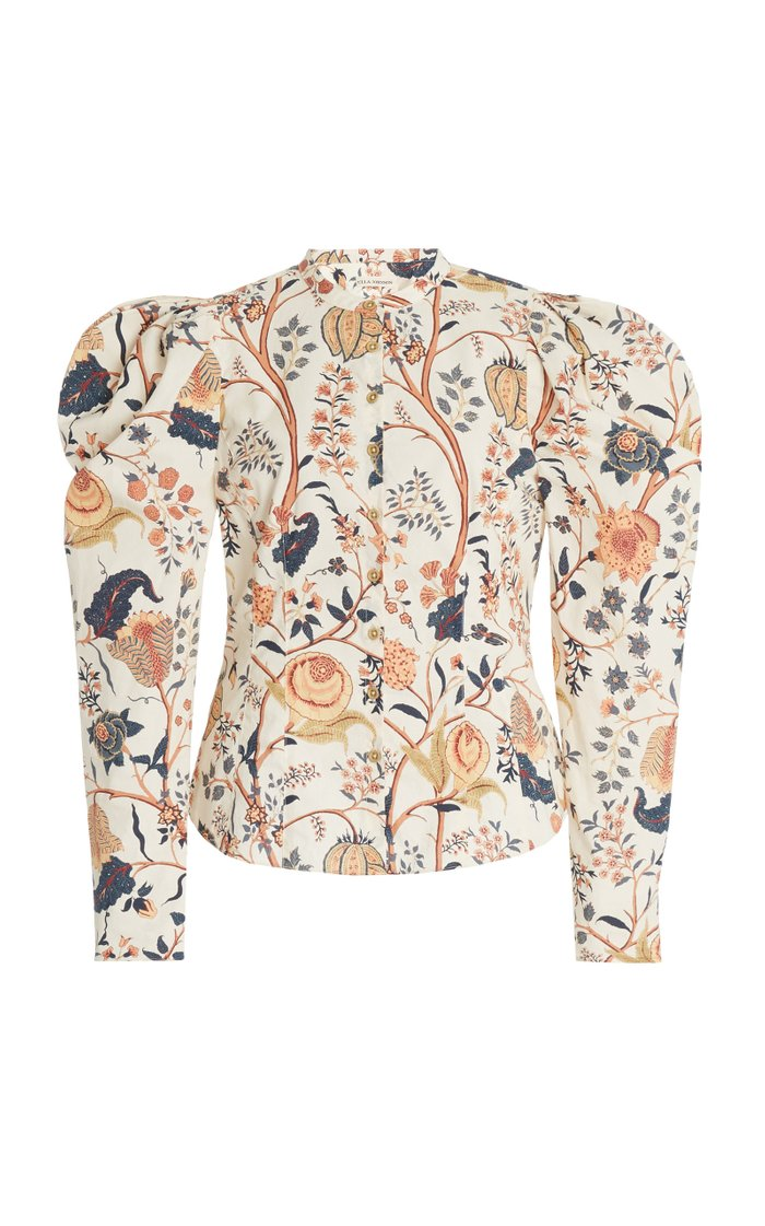 Harriet Gathered Printed Cotton Blouse