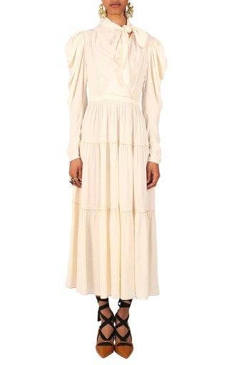 Daphne Long Sleeve Neck Tie Dress