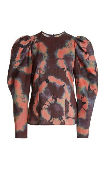 Ora Puffed-Sleeve Silk Blouse