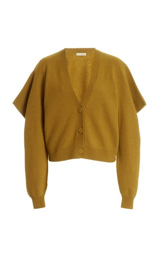 Marta Draped-Sleeve Wool Cardigan