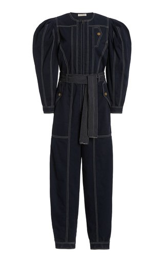 Leo Belted Cotton-Twill Jumpsuit
