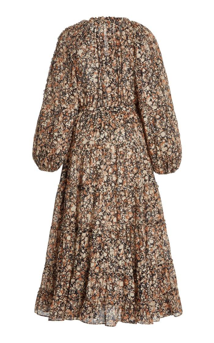 Anzu Printed Cotton-Blend Midi Dress