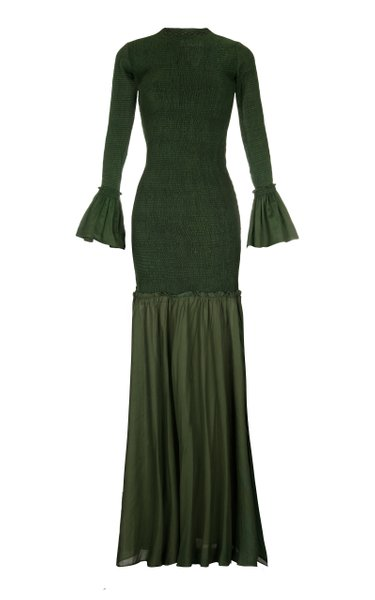 Tsuma Ruched Maxi Dress With Hand Embroidery