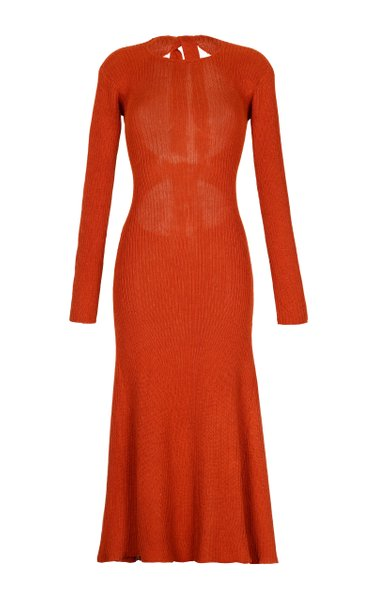 Blanca Machine-Knit Ribbed Midi Dress