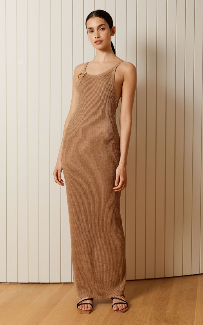 Iman Ribbed-Knit Linen Maxi Tank Dress