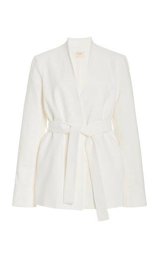 Moti Cotton-Linen Wrap Blazer