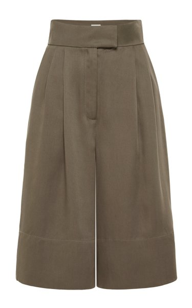 Ode Pleated Tencel Knee-Length Shorts