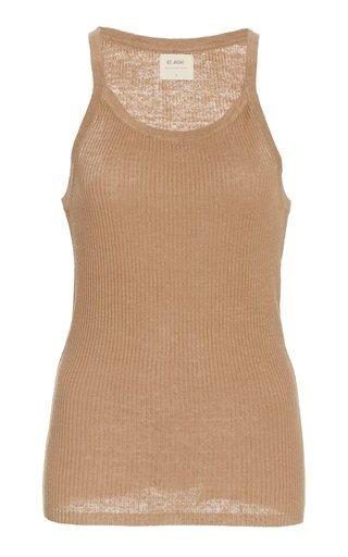 Iman Ribbed-Knit Linen Tank Top