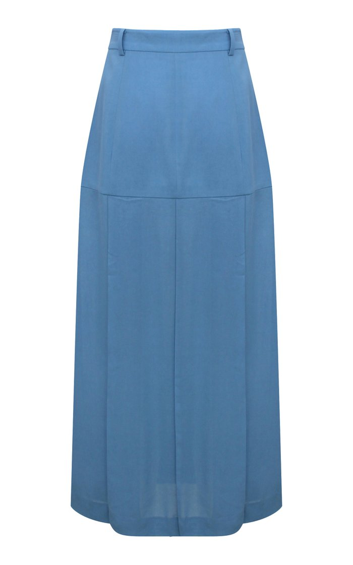 Miller Button-Detailed Pleated Viscose Midi Skirt