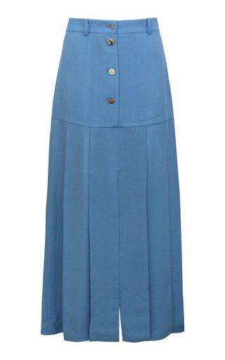 Miller Button-Detailed Pleated Viscose Midi Skirt