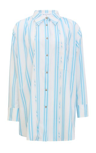 Ashley Oversized Drawstring-Detailed Striped Organic Cotton Shirt