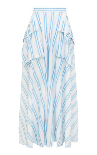 Lena Striped Organic-Cotton Maxi Skirt
