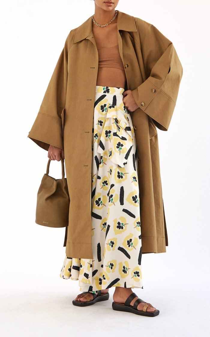 Lena Pocket-Detailed Floral Satin Twill Full Maxi Skirt